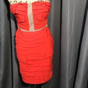 Gianni Bini strapless orange dress